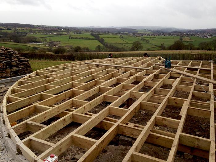 Completed deck frame