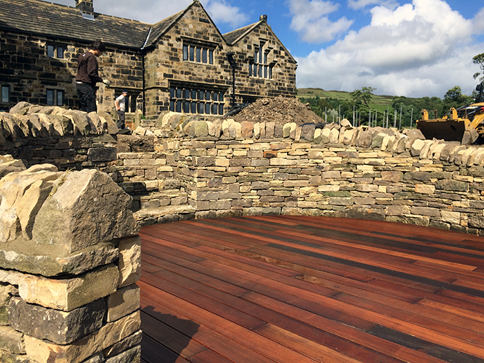 Balau decking and drystone walls