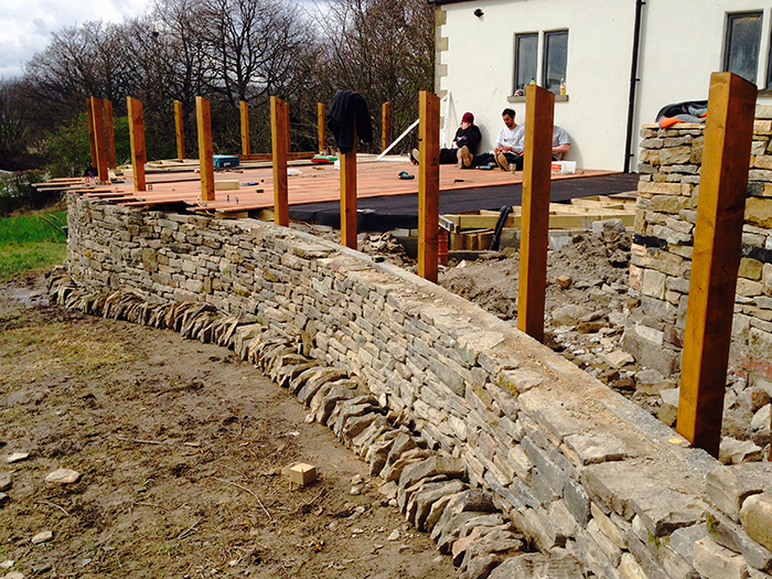 Curving drystone wall