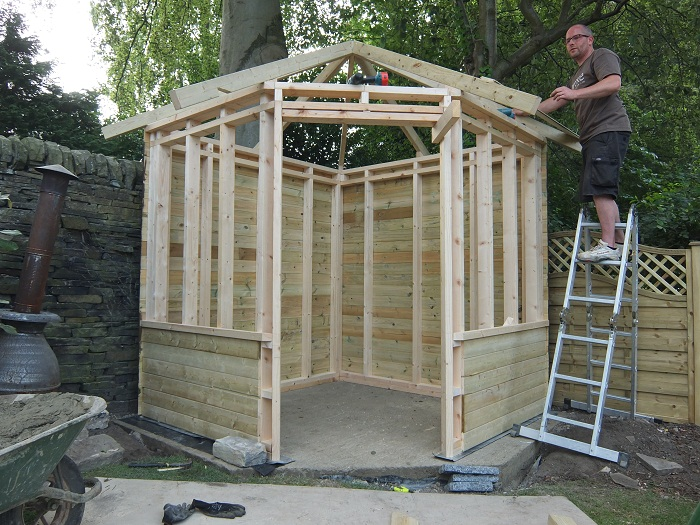 Bespoke summer house in thackley bradford evoke for Garden designs with summer house